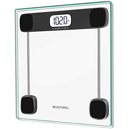 Beautural Bilancia Pesapersone Digitale Balance Pese Personne Bagno elettronica con 2 Batterie, Display Retro-illuminato, Tecnologia Step-On, Max peso 180KG/400LB