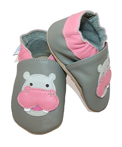 Krabbelschuhe Nilpferd in verschiedenen Farben von baBice, Schuhgröße:18/19 (6-12 Monate);Uni Schuhe:türkis dunkelgrau