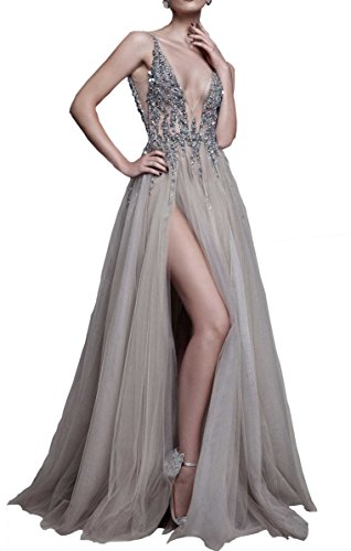Changjie Damen Sexy Abendkleider Braujungfernkleider V-Ausschnitt T¨¹ll Lange Ballkleider