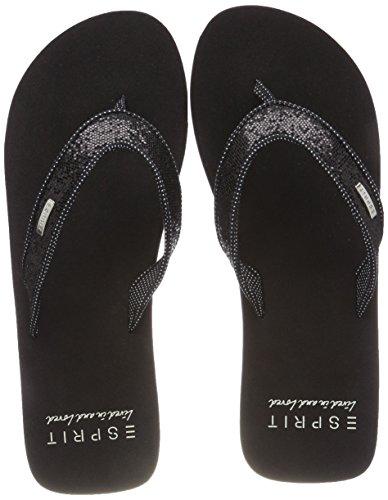 ESPRIT Damen Glitter Thongs Pantoletten, Schwarz (Black), 41 EU