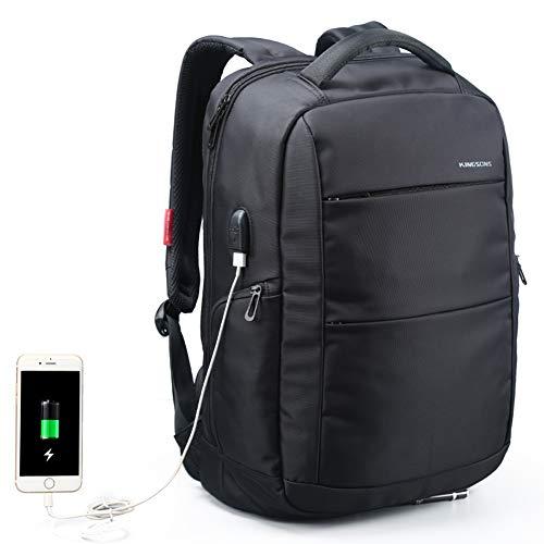 Kingsons Cityrucksack Daypack Damen Rucksack Nylon wasserdicht Laptop Rucksack 15,6 Zoll mit USB-Ladeanschluss diebstahlsicherer Business Rucksack Damen elegant Sporttasche,Black
