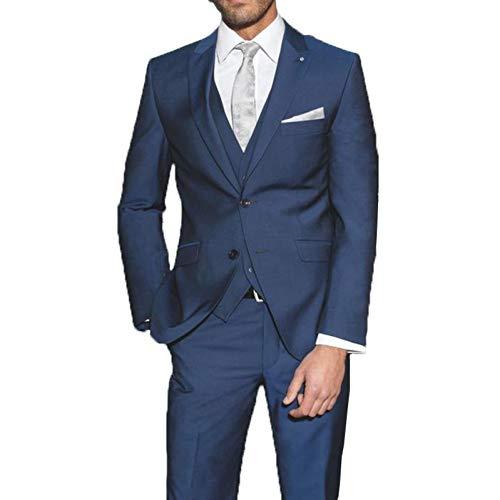 Formelle Hosen Anzüge (GFRBJK Made Slim Fit Marineblau Herren Anzug Für Hochzeit Bräutigam Hochzeit Smoking 3 Stück Jacke + Hose + Weste Formelle Party Anzug (Royal Blue) 46)