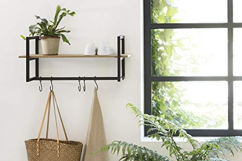 LIFA LIVING Wandgarderobe mit Ablage, Vintage Schweberegal, Wandregal mit Aufhängung, 5 Kleiderhaken zum Aufhängen, MDF- Holz und Metall, schwarz