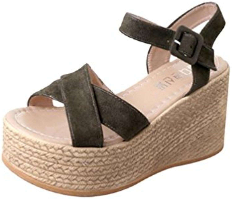 PINEsong Damen Schuhe Einfarbig Böhmen Peep Toe Wedges Dick Boden Flatform Schuhe Casual Sandalen Basic Riemchensandalenö