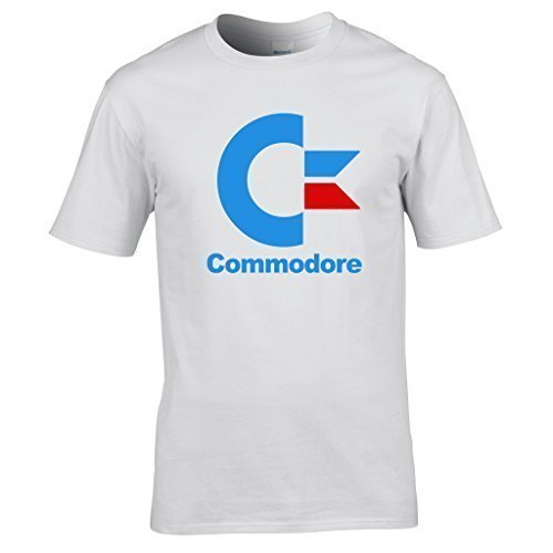 Naughtees clothing - Commodore logo medium white standard fit T-shirt