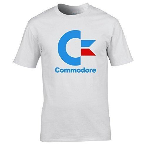 Naughtees clothing - Commodore logo medium white standard fit T-shirt