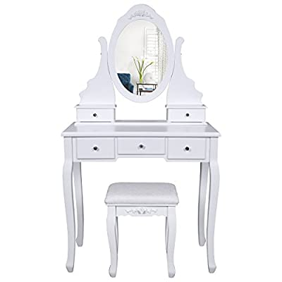 Songmics Wall-Fixed White Dressing Table with mirror and stool, Floral shape Make-up Dresser, 5 Drawers with 2 Dividers RDT09W