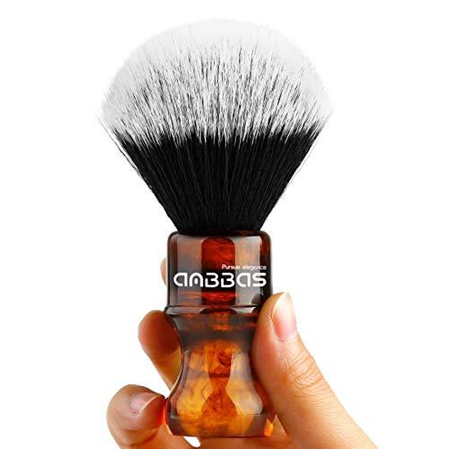 Rasierpinsel Vegan mit Classic Silvertip Fibre Harzgriff Anbbas Größe Shaving Bürste (Knot 24mm) (Bernstein)