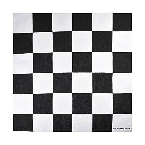 Black and White Checkered / Racing Flag Cotton Bandana, 55x55cm Head Scarf