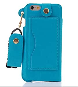 Turpro® PU Leather Flip Case with Stand, Credit Card Holders on Back and Neck Strap Lanyard Wrislet for iPhone 6 Plus /6S Plus(Blue)