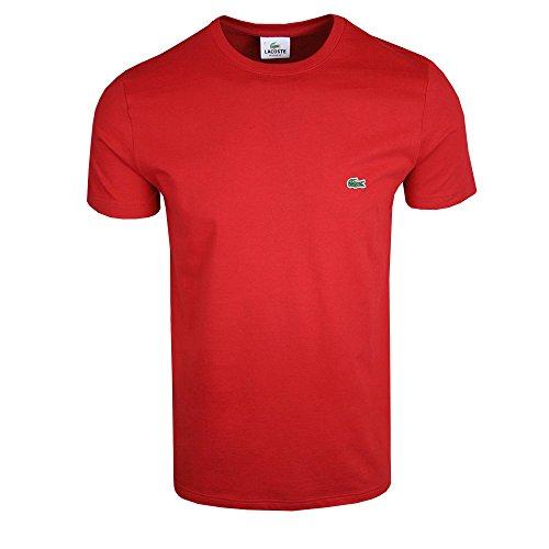 Lacoste TH2038 Klassisches Herren Basic T-Shirt, Rundhals, Kurzarm, Regular Fit, für Freizeit und Sport, 100% Baumwolle Rot (Red 240), EU 8 (Herren Baumwolle Lacoste)