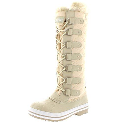 Polar Damen Quilted Knie Hoch Ente Pelz Gefüttert Regen Schnüren Dreck Schnee Winter Stiefel Beige Nylon