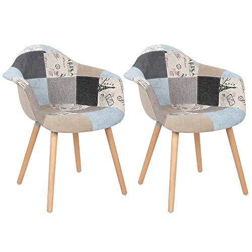 GroBKau 2er Set Mehrfarbig Patchwork Sessel Leinen Stoff Freizeit Wohnzimmer Eckstühle Empfangsstühle mit Rückenlehne Weichkissen grau