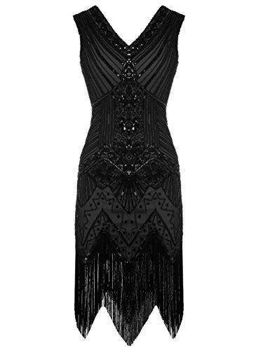 FAIRY COUPLE 1920 Flapper doppelte V-Ausschnitt Pailletten Strass verschönert fransen Kleid D20S003(M,Schwarz-1) Vintage-kleid Der 1920er Jahre