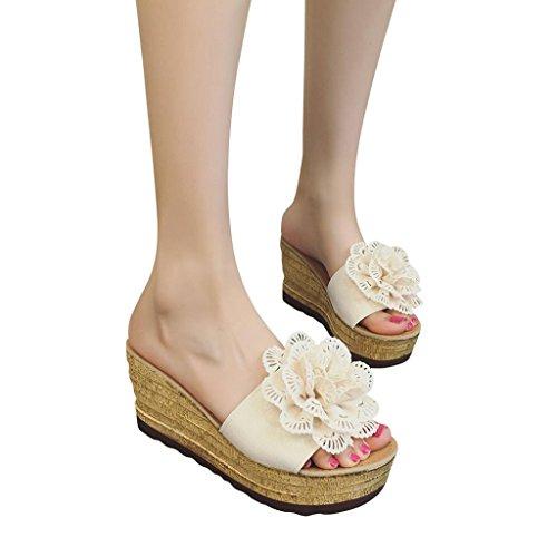 Sandalias 2018, ❤️ Ba Zha Hei Casual Zapatillas de Flores con cuñas de Mujer Sandalias de Plataforma de tacón Alto Sandalias a Prueba de Agua Sandal con Suela Amarilla Moda Sandalias (35, Beige)