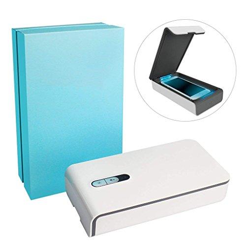 Chunse Handy UV-Sterilisator Desinfektor, Dual-Universal-Telefon USB-Ladegerät Tragbare Multiuse Aromatherapie Diffusor, Handy-Halter, Sanitizer Für Spielzeug, Uhren und Schmuck,White