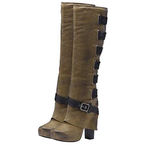 Deloito Damen Retro Boots Schnalle Kniebare Stiefel Quadratischer Hoher Absatz Freizeit Flachen Boden Schlupfstiefel Lange Tube Booties (Armee-Grün,36 EU)