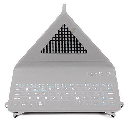 Qwerty-Tastatur im sportlichen Grau-Blau mit Bluetooth für Timmy M12 | Aquaris X5 Plus | IUNI N1(U0001) | Leagoo Alfa 1 | LG X screen + X cam | THL 2015 + 4400 + 5000 | Nokia 150 Smartphones