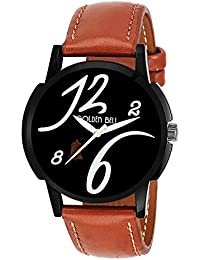 Golden Bell Original Black Dial Tan Brown Strap Analog Wrist Watch For Men - GB-634