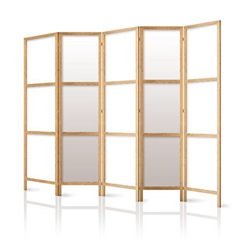 Paravent Raumteiler Holz weiß, 225x171 CM - 5-TEILIGE Edler Sichtschutz - 100% Nat...