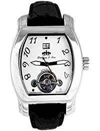 Lindberg & Sons Reloj automático para hombre con correa de piel color negro y de color blanco esfera analógica pantalla hq10027
