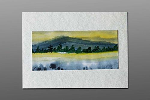 Postkarte + Briefumschlag / Landschaft No 7 / Unikat / Aquarellkarte