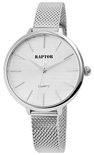 Raptor Damenuhr mit Edelstahlmeshband Hakenverschluss Armbandlänge 21cm Quarz Analog (Silberfarbig/Weiß)
