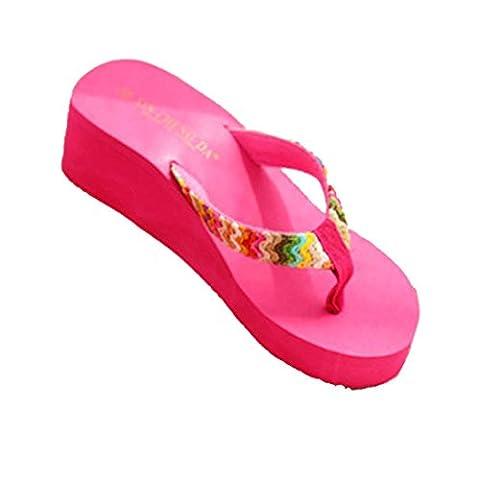 Damen Sommer Schuhe,Xinan Sommer-Plattform-Sandelholz-Strand Flache Keil Patch-Flip-Flops Lady Slippers (36,