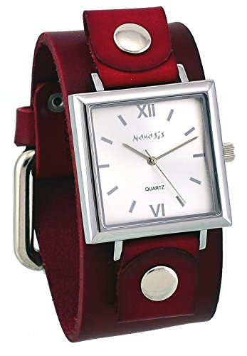 Nemesis #RGB225S Women's Conservative Collection Square Silver Dial Red Wide Leather Band Watch