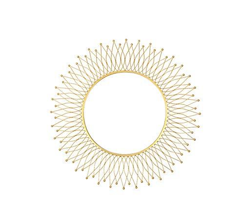 HongTeng Goldene Hintergrund-Wand-Dekorations-hängender Spiegel-Eitelkeits-Spiegel-Hohle dreidimensionale Sonne-Form-Retro- Persönlichkeit-Ausgangsverzierung 82 × 82cm (Sonne Dekoration Hängende)