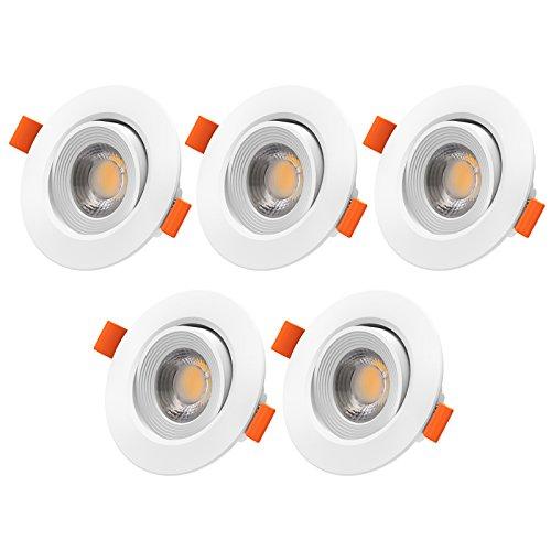 LED Einbauleuchte, Veelicht 5er Pack 5W LED Einbaustrahler, 450Lm, Warmweiß, AC 220-240V, LED Einbauspot, Deckeneinbaustrahler, Deckeneinbauspot, Schwenkbar