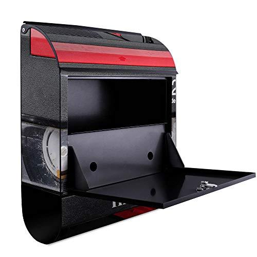 BANJADO Design Briefkasten schwarz | 38x47x13cm groß mit Zeitungsfach | Stahl pulverbeschichtet | Wandbriefkasten mit Motiv Video Kassette | mit silbernem Standfuß - 3