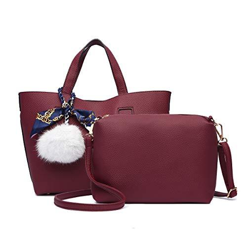 LOSMILE Damen Handtaschen, Leder Umhängetasche Set Damen Taschen Frau Klein Schultertasche Handbag Shopper Clutches (Rot)