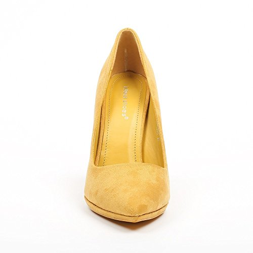 Ideal Shoes – Escarpins effetto camoscio noeva Giallo