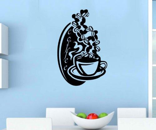 Glanz Kaffee (Wandtattoo Kaffee Bohnen Küche Spruch Coffee Cafe Tasse Wand Aufkleber 5Q608, Farbe:DunkelRot glanz;Hohe:80cm)