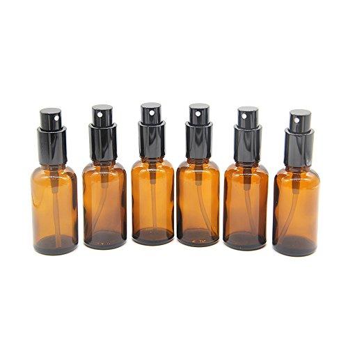 One Trillion 30ml flacon vaporisateur vide verre ambré, bouteille spray verre avec brouillard de pulverisateur fine, Pour huiles essentielles, aromathérapie, parfums, massages, pharmaciens - 6Pcs