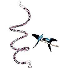 Abestbox Pappagallo/Uccelli Voliera Giocattoli, Corde per Arrampicarsi, Giocattoli Rotanti, Elicoidale Ritta Corda, [D1.8 * L165CM] Corda Media Arcobaleno di Cotone con Campanello