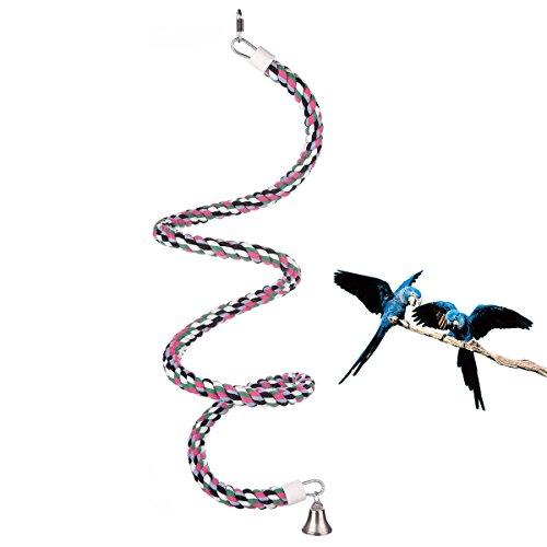 Abestbox Parrot / Vögel Spielzeug, climbing Rope Sling, Schaukel Spielzeug, Spirale Stehen-seil, [D1.8 * L165CM] Mittlere Regenbogen Cotton Rope Parrot mit Glocke