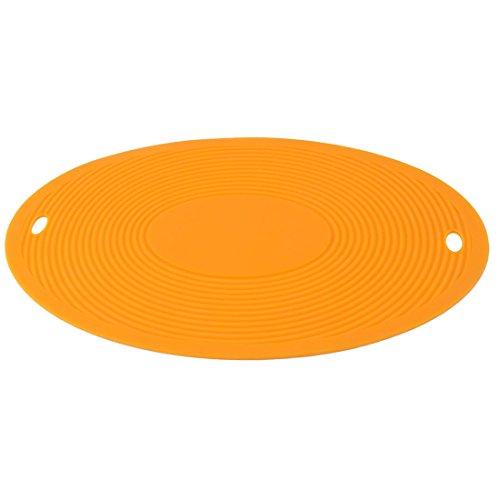 sourcingmap® Hotel Silikon Oval Rutschfest Schüssel Platte Hitzebeständig Coaster Orange