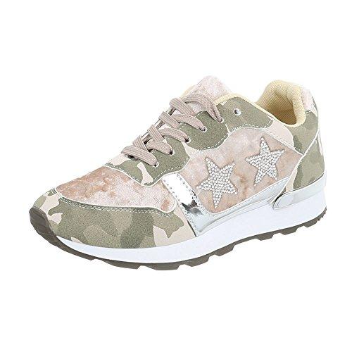 Ital-Design Scarpe da Donna Sneaker Piatto Sneakers Low verde argento G-103