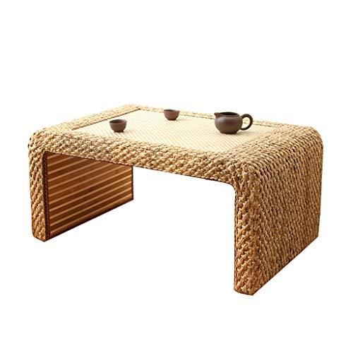 Tables Basse De Salon Basses en Bois De Rotin en Tatami Simple Basse Rectangulaire en Baie Vitrée De Plate-Forme D'ordinateur Basses