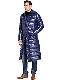 Queenshiny Long Men's Down Coat Jacket white duck down filling with anti-velvet lining M L XL removable hood uk size