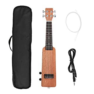 ammoon Electric Ukulele Creative 21inch Solid Wood Okoume Electric Ukulele Ukelele Uke with 3.5mm & 6.35mm Outputs Including Carrying Bag 4pcs Extra Strings