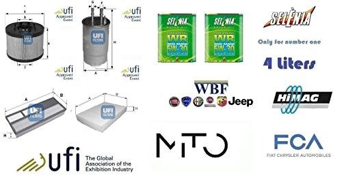 Kit filtri tagliando UFI Alfa Mito 1.3 JTDm 16v 66 Kw + 4 Litri Oil Selenia 5W30