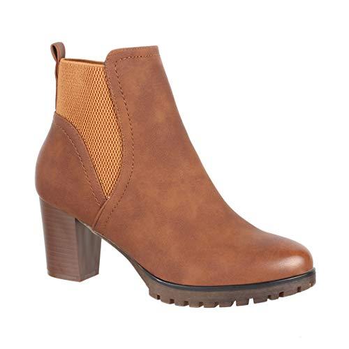 Elara Ankle Boots   Trendige Damen Stiefeletten   Blockabsatz Plateau   Chunkyrayan 6697 Camel-37