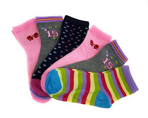 6 Paar original STOP ON! Kids Mädchen Stopper Socken Kinder ABS Strümpfe Baby-Söckchen mit Anti-Rutsch Sohle 95% Baumwolle Bunter Mix (21-25, M010) (Mädchen-socken Pack)