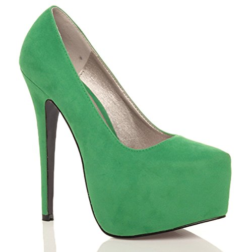 Escarpins de fête à talons hauts et plateforme cachée femmes chaussures taille Daim Vert