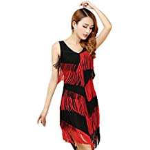 96307f620e1 YiJee Femme Soirée Robes Glands Robes de Danse Latine Rumba Salsa Samba  Tango