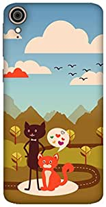 The Racoon Grip printed designer hard back mobile phone case cover for HTC Desire 828. (Cat Love)
