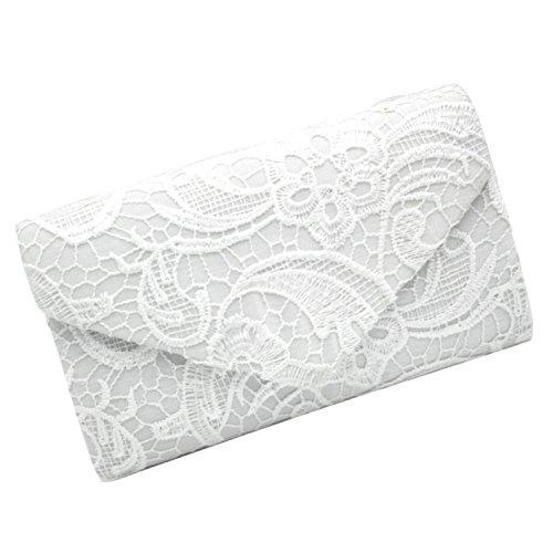 Abendtasche Damen Women lala Weiß Spitze Umschlag Clutch Handtasche Weiß Pink Luxus Damentasche Blumen Elegant Dunkelblau vgp5pqwHx